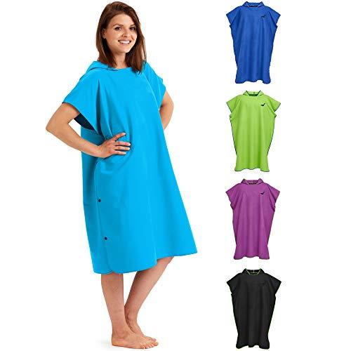 Fit-Flip Toalla con Capucha de Microfibra, Poncho Surf Microfibra – Poncho Toalla Hombre, Poncho Toalla Mujer – Vestido de Verano para Hombres y Mujeres – Color: Azul Claro | Tamaño: L ✅
