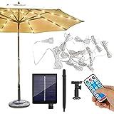 104 luci a LED per ombrellone, con illuminazione solare a LED, 8 modalità di illuminazione, per giardino, ponteggio, piscina, spiaggia