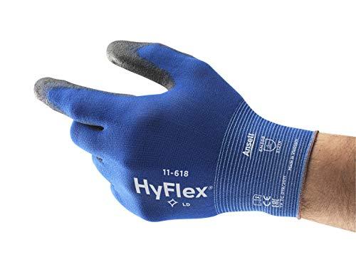 Ansell HyFlex 11-618 Arbeitshandschuhe aus Nylon, Extrem Dünn, Vielseitig Einsetzbarer Mechanikschutz-Handschuh, Blau/Schwarz, Größe 8 (1 paar)