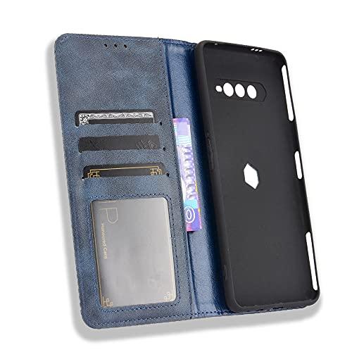 MingMing Lederhülle für Xiaomi Black Shark 4 Hülle, Flip Hülle Schutzhülle Handy mit Kartenfach Stand & Magnet Funktion als Brieftasche, Cover für Xiaomi Black Shark 4, Blau
