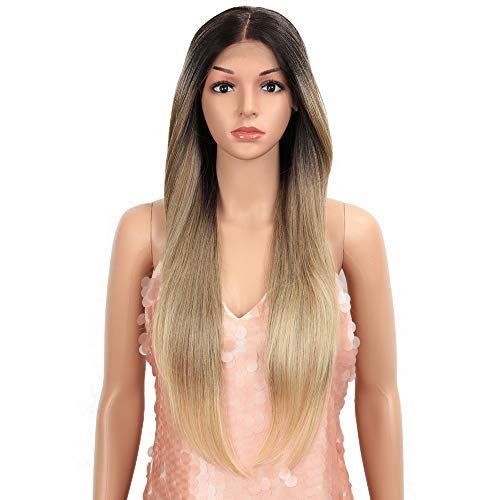 Style Icon Easy-360 Lace Wigs 28' Free Part Lace Frontal Wigs Long Straight Wig Ombre Blonde Synthetic Wig(28', SOP 22613)