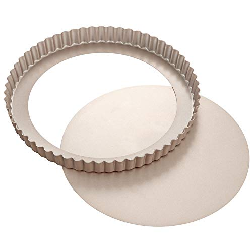 9.5-Inch Round Tart Pan with Removable Loose Bottom
