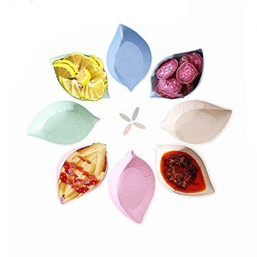 Multicolor Leaf Shape Degrado naturale per piselli di frumento Piatto per immersione Set di stoviglie (8 pezzi)