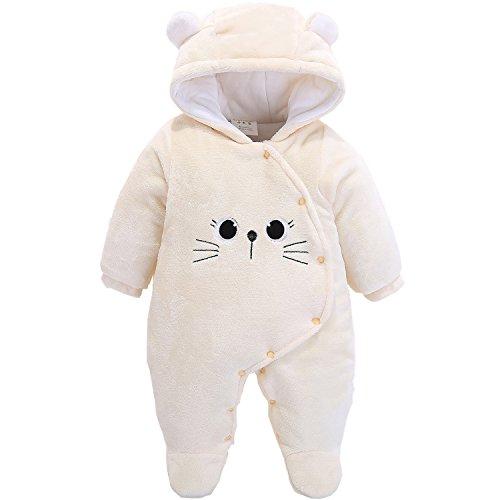 Morbuy Jumpsuit Bebé Unisexo Bebé Recién Nacido Franela Mameluco Invierno Ropa Una Pieza Pijamas Monos Caricatura Trajes (59, Gatito Beige)