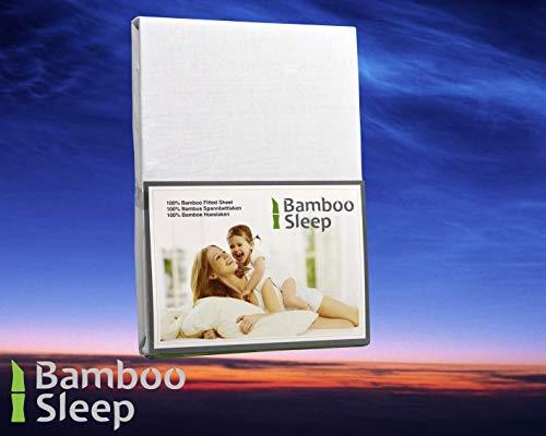 BambooSleep BT140200wit Hoeslaken topdekmatras, 140 x 200 cm, 100% bamboe, Bamboe, Wit