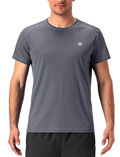 NAVISKIN Camiseta Deportiva para Hombre de Mangas Cortas Raglán Playera Térmica Casual Atlética de Correr Chándal Running Deporte Yoga Ejercicio Fitness Entrenamiento Gris XL