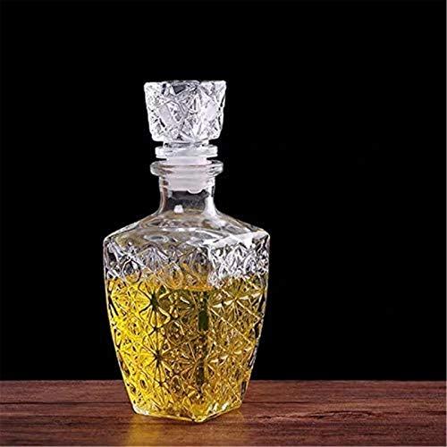 Decantador de vino de cristal hecho a mano, Creativo transparente vidrio whisky licor bebidas vino Decanter Crystal Bottle Wine Carafe Botella de vino Whisky Decanter Regalo (Color: L) Accesorios de v