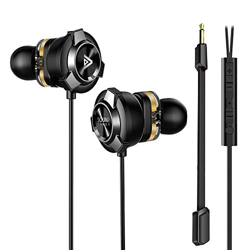 Gaming Earbuds, Sound Panda Dual Drivers in-Ear Earphones with Noise Cancelling Stereo Bass and Ergonomic Design Dual Mic E-Sports 3.5mm for PS4, Xbox, Nintendo, PC, Laptop, Smartphones (Black)