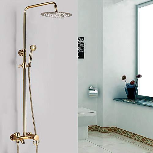 OUKANING Grifo de Ducha de latón Vintage Panel de Ducha Ducha de Mano Ducha de Lluvia Juego de Ducha Sistema de Ducha de baño Oro
