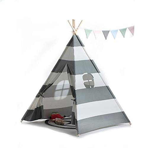 Veelzijdige kindertent Children's Fotografie Tent Camping Tent Grijs Gestreepte Foldable Cotton Canvas Tent Binnen Buiten Christmas Decoration (Color : Gray, Size : As shown)