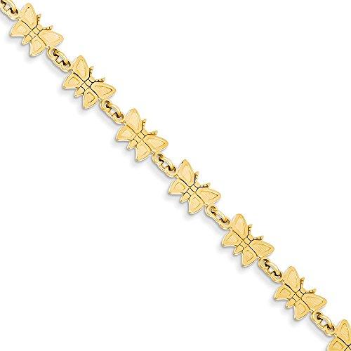 Pulsera de oro amarillo de 14 quilates con alas de ángel de mariposa, joyería de garra de langosta para mujer, 18 centímetros