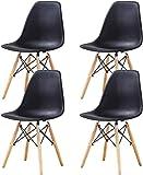 Esszimmerstühle 4er set Tulpe Esszimmer Retro Design Stühle 4er Set mit Holzbeinen Und Sitzkissen Eiffelturmstuhl für Esszimmer, Wohnzimmer Oder Küche, Balkon Stabiler und Bequemer Stuhl (Schwarz)