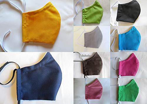 Behelfsmaske uni mit Filtertasche, Vlies und Nasenbügel, Mundschutz waschbar 60°, Maske in 4 Größen