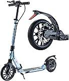 WJHCDDA Scooter Adulto eléctrico Big Wheel Scooter for Adultos Niños Adolescentes Plegable Kick Scooters con Freno de Mano y de Doble Suspensión Ajustable en Altura - Carga 100kg (Color : Blue)