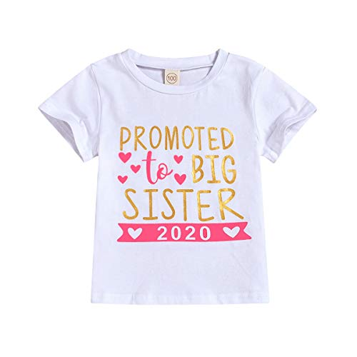 JEELLIGULAR Baby Girl Promoted to Big Sister 2020 Letter Print Clothes Outfit T-Shirt Top Blouse Shirts (2020 Short Sleeve, 2-3Y)