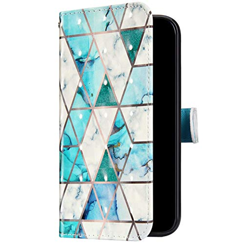 Uposao Kompatibel mit Samsung Galaxy A40 Handyhülle Bunt Bling Glitzer Glänzend 3D Muster Tasche Schutzhülle Brieftasche Leder Hülle Klapphülle Flip Case Kartenfächer Magnet,Grün Marmor