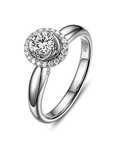 DOLOVE Anello da donna in oro bianco 18 carati con diamanti 1 ct promessa anello da fidanzamento da donna, D-E, VS, misura H 1/2-S 1/2 e Oro bianco, 19, colore: bianco, cod. LMY90GZZBRST1721