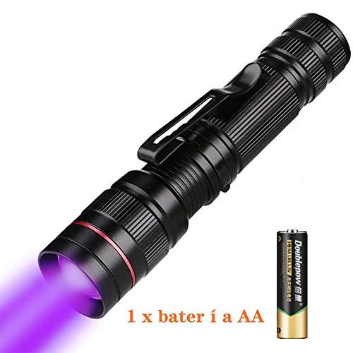 Linterna Ultravioleta, LED Linterna UV luz Negra Con Batería, UV Flashlight 395 nm Luz UV con, Mascotas orina y Mancha Detector Quitamanchas, Moneda autentificada [Clase de eficiencia energética A]
