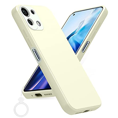 PULEN Funda para Xiaomi Mi 11 Lite 4G / 5G, Silicona Carcasa con Uno Silicona Dedo Anillo, Anti-Choques, Anti- Arañazos,Slim Delgada,Tacto Suave - Blanco