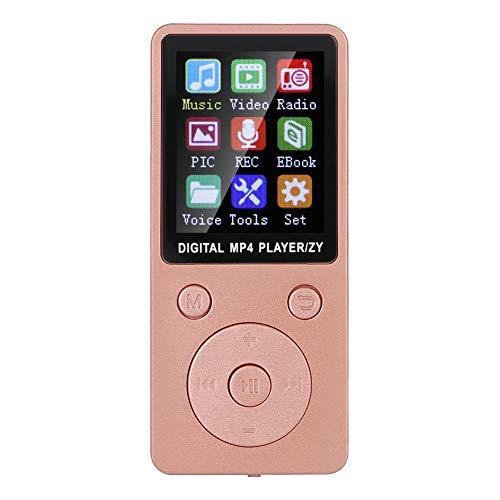 Sutinna Reproductor de MP3 MP4, 8G Reproductor de música Digital portátil Bluetooth4.2, Compatible con música Radio grabación Video Libro electrónico función de cronómetro Incorporado(Oro Rosa)