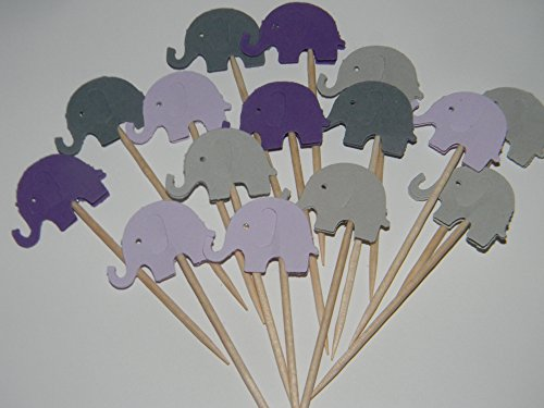 24 Mixed lavender,purple and gray elephant elephants cupcake toppers food picks baby shower decor