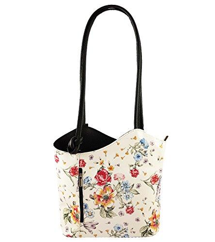 Freyday 2 in 1 Handtasche Rucksack Designer Luxus Henkeltasche aus Echtleder in versch. Designs (Blumen Schwarz)