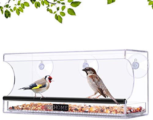 VIVOHOME Acrylic Squirrel Proof Rectangle Clear Window Bird Feeder with Strong Suction Cups and Sliding Seed Tray
