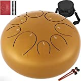 Happybuy Steel Tongue Drum 8 Notes 10 inches Mini Tongue Drum Gold Handpan Drum Notes Percussion Instrument Steel Drums Instruments with Bag, Music Book, Mallets,Mallet Bracket