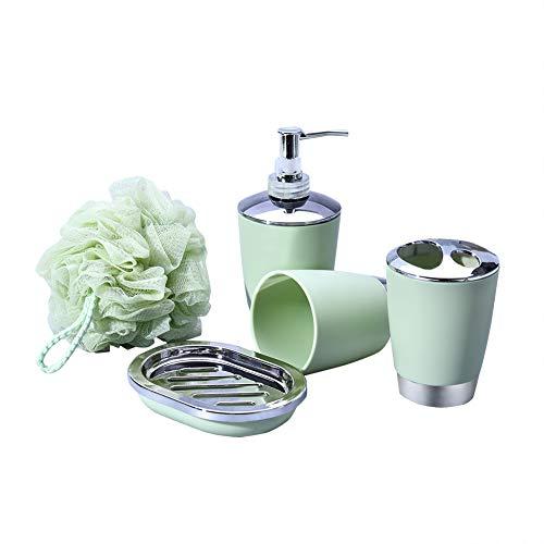 Jintuo Bathroom Accessories Set,5 Pcs Plastic Gift Set,Bathroom Accessory Set with Toothbrush Cup, Soap Dish, Lotion Soap Dispenser, Tumbler Cup, Bath Loofahs for Decor (Green)