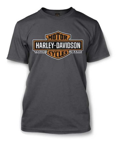 Harley-Davidson Men's Elongated Orange Bar & Shield Charcoal T-Shirt 30291961