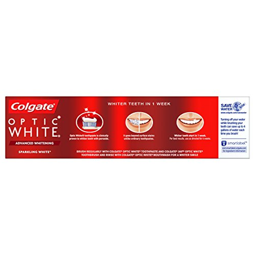 Colgate Optic White Whitening Toothpaste, Sparkling White - 5 ounce (3 Pack)