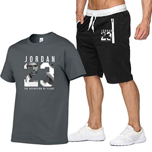 FSBYB Conjuntos de Hombre Chándal, 23 Jordan Deportiva Set Top de Manga Corta y Pantalones Cortos para el Verano,A,M