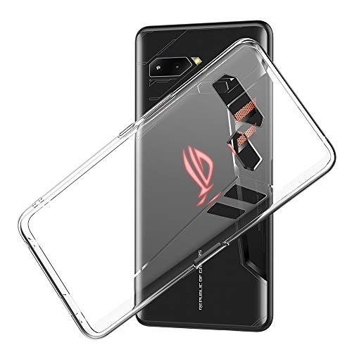 Eastcoo ASUS ROG Phone Hülle Case, Dünn Transparent Soft Flexible TPU Handyhülle Cover Anti-Kratzer Schutzhülle Leichter Tasche für ZS600KL 6.0 inch- Transparent und Schwarz(Transparent)