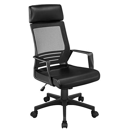 Yaheetech Mesh Office Desk Chair Ergonomic with Lumbar Support, High Back Adjustable Computer Chair, Leather Padded Seat Swivel Chair Black