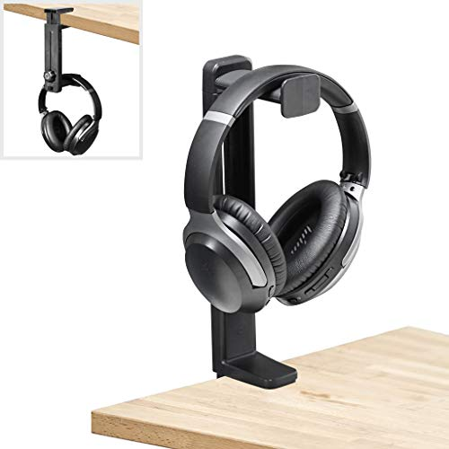 Avankin Headphone Stand and Hanger 2 in 1, Desktop or Under Desk Gaming Headset Hook Holder Mount with Height Adjustable & Rotating Clamp, Earphone Rack with Cable Clip - HS906