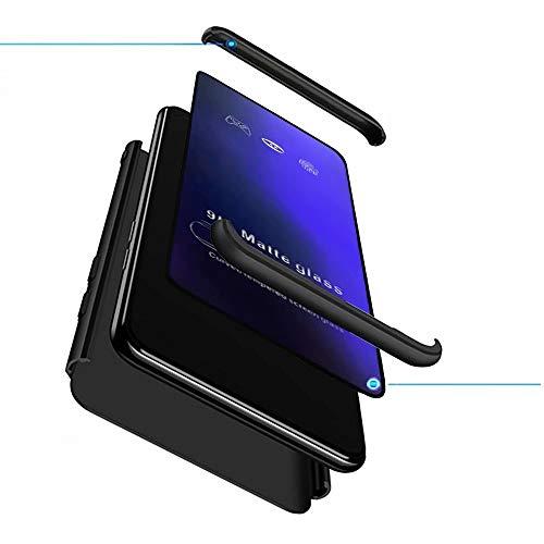 XJZ Compatible para OPPO F9(Pro) OPPO A7X Funda(2018)+3D Vidrio Templado Protector de Pantalla/Caja Ultra Fina Silicona Caso Bumper 360° Protectora Cojín Carcasa para OPPO F9-Negro