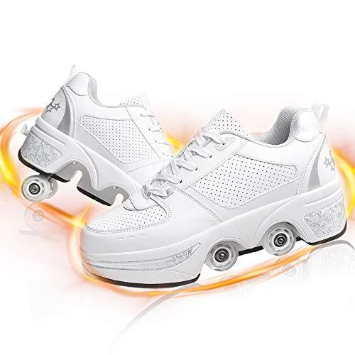HealHeatersⓇ Mädchen Multifunktionale Rollschuhe Verstellbare Kinderschuhe Schuhe Mit Rollen Laufschuhe Jungen Inline-Skate for Outdoor Indoor,White+Silver,40