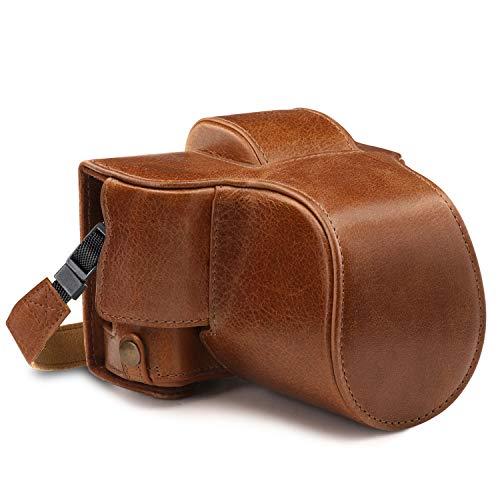 MegaGear Ever Ready - Funda para Fujifilm X-T100 (15-45 mm, de Cuero auténtico, con Correa) Color marrón Oscuro
