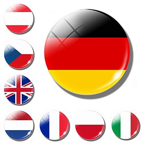 Hehuanxiao Lot de 8 aimants pour réfrigérateur Motif drapeau de l'Europe Allemagne, France, Irlande, Pays-Bas, Belgique, Espagne, Royaume-Uni, Verre magnétique pour réfrigérateur