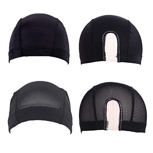 4 Pack Mesh Dome Wig Caps U Part Wig Caps Stretchable Black Wig Cap Spandex Dome Mesh Style Wig Caps for Making Wigs(2Pcs Mesh Wig Cap, 2Pcs Spandex Dome Wig Cap)