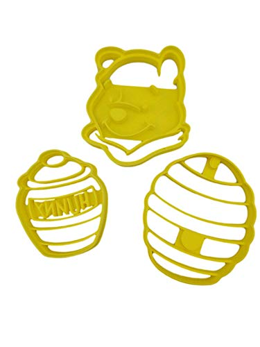Inspired By Winnie The Pooh Head/Face, Honey (Hunny) Pot and Bee Hive Cookie Cutters (3 Pack)