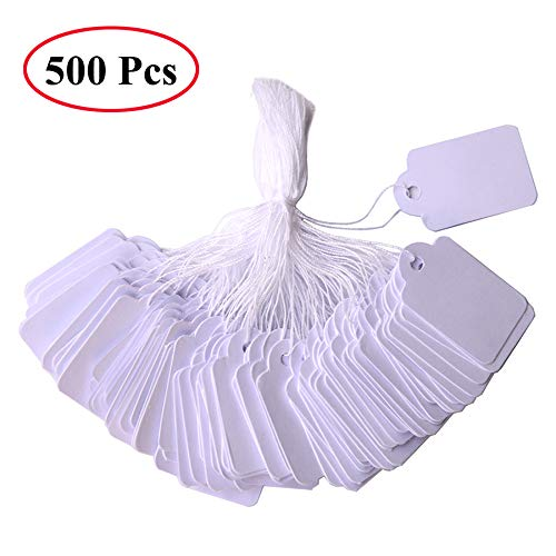 500 Pack Jewelry Tags with String by Divine Light, Premium Writable Sales Tags White Marking Tags for Jewelry Small Items, Sale Price Tags Display Labels - 1.37 x 0.86 Inches