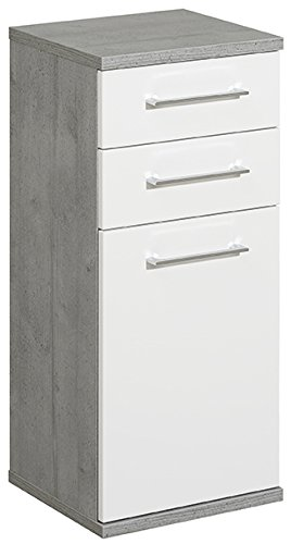 Pelipal 370 Fresh Line Grey Highboard, Holzdekor, Betonoptik, 33,0 x 35,0 x 80,0 cm