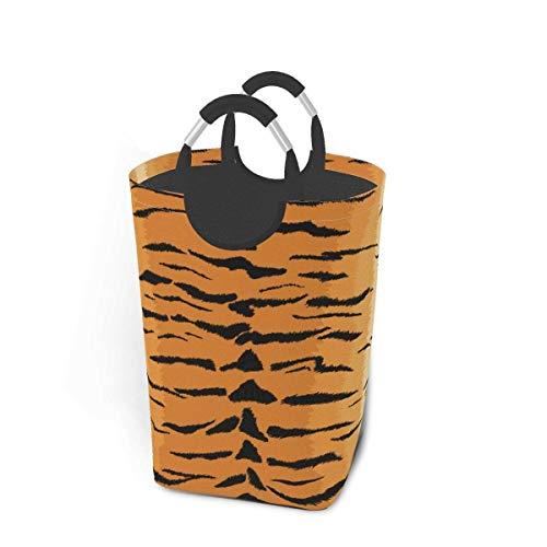 mallcentral-EU Cesta de Almacenamiento Grande y Alta con patrón de Animales sin Costuras con Textura de Tigre, cesto de lavandería Plegable 50L
