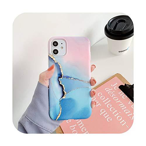 BSbattle Caja colorida del teléfono de la piedra de la textura de mármol de la moda para el iPhone 11 Pro Max12 Pro Max X XR XS Max 7 8 Plus suave IMD contraporta-IU0870-para el iPhone 11