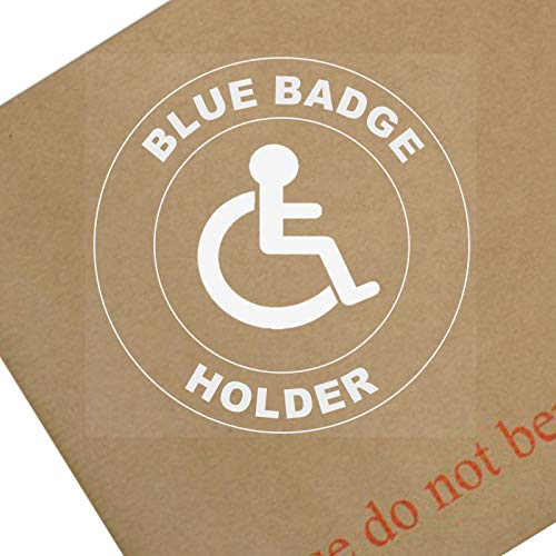Platina Plaats 1x Blauwe Badge Houder-Round-Wit op Clear-Window Sticker-Sign, Auto, Badge, Opmerking, Waarschuwing, Rolstoel, Driver, Kind, handicaps, Ramp, Access,I,Am,Person,Logo,Mindervaliden