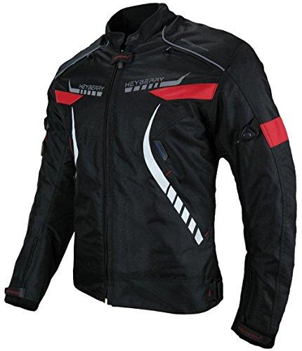 HEYBERRY Damen Motorradjacke Textil Schwarz Rot Gr. M / 38