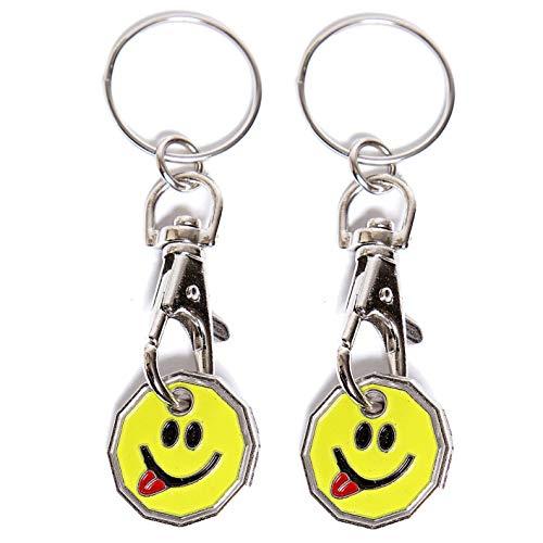 UK Phoenix Einkaufswagenchip 1-Pfund-Schlüsselanhänger, 12-seitige Pfund-Münze, Schließfach, Fitnessstudio, Einkaufskorb, Asda Aldi Lidl Tesco Waitrose (2 x Smiley-Zunge)