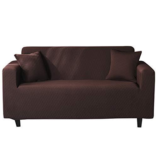 NOBCE Funda elástica seccional elástica Funda de sofá elástica para Sala de Estar Funda de sofá en Forma de L Funda de sillón de Esquina 1/2/3/4 plazas marrón Oscuro 190-230CM