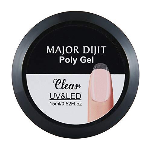 FAMOORE Gel Construction - 4 Couleurs Extension de lampe UV Faux Ongles gel camouflage gelée doigt poly durable 15ML (1Boîte, clair)